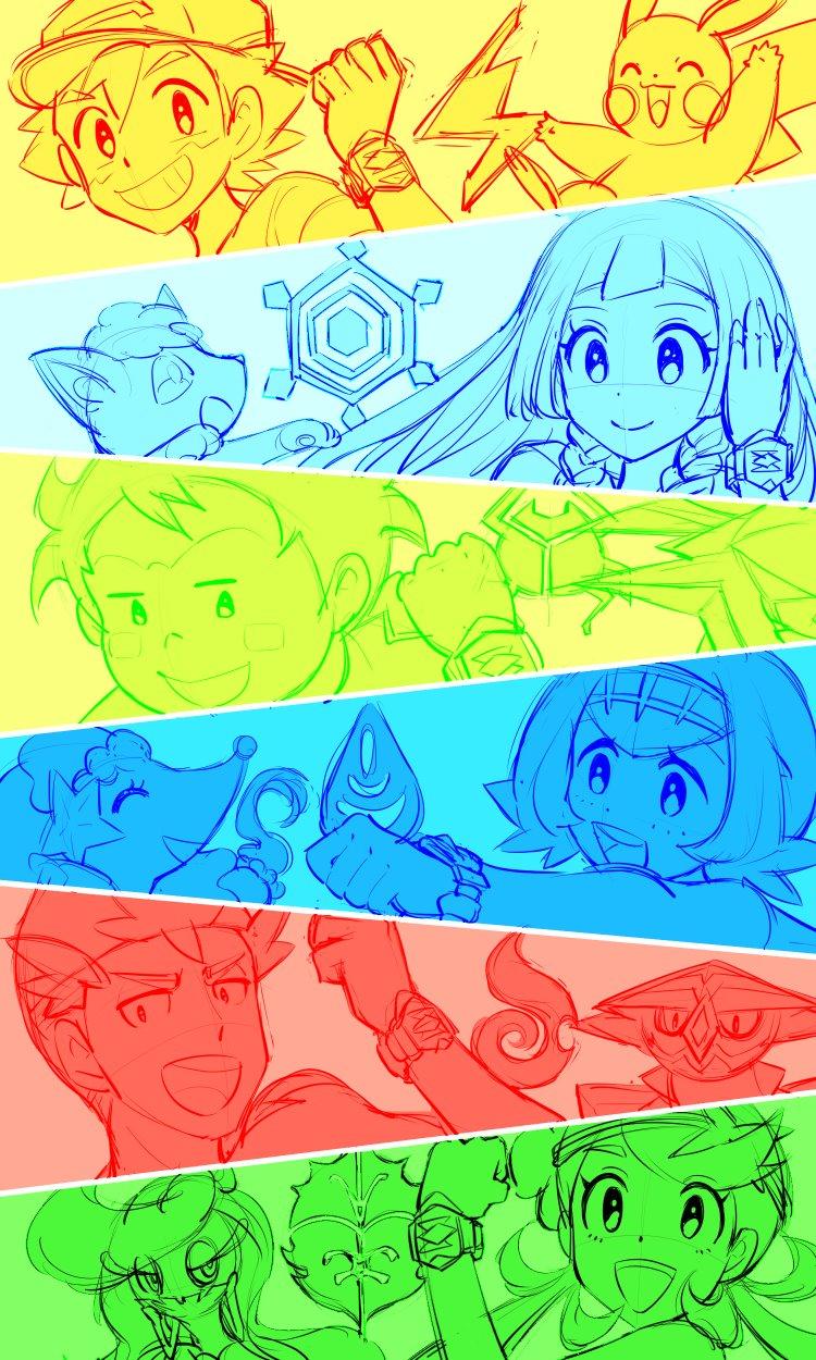 3boys 3girls alolan_vulpix commentary djmn_c highres kaki_(pokemon) lillie_(pokemon) mamane_(pokemon) mao_(pokemon) multiple_boys multiple_girls multiple_monochrome pikachu pokemon pokemon_(anime) pokemon_sm_(anime) primarina satoshi_(pokemon) suiren_(pokemon) tsareena turtonator vikavolt z-ring