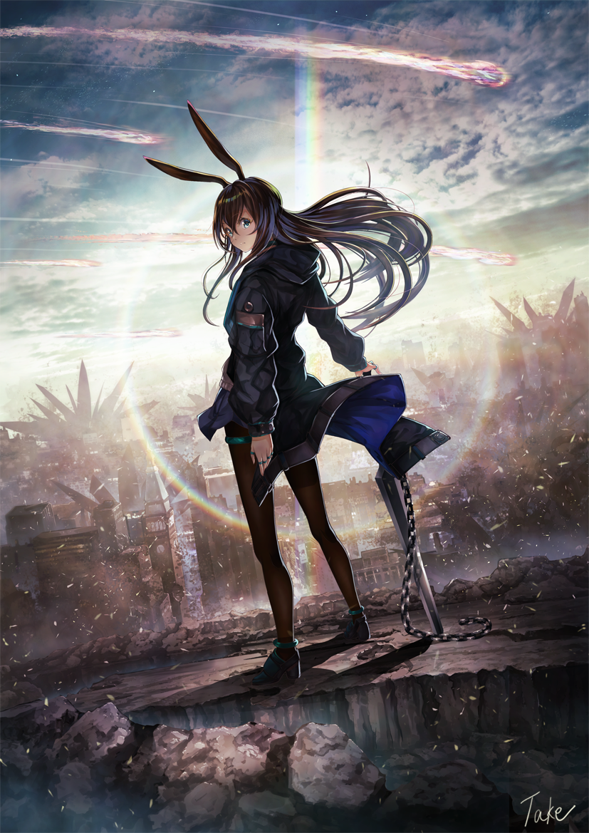 1girl amiya_(arknights) animal_ears anklet arknights artist_name black_choker black_footwear black_jacket blue_eyes blue_sky brown_hair brown_legwear chain choker cityscape clouds comet day full_body jacket jewelry lens_flare long_hair looking_back neck_ring outdoors pantyhose planted_sword planted_weapon rabbit_ears ring rubble sky solo standing sword take_tw01 thumb_ring weapon