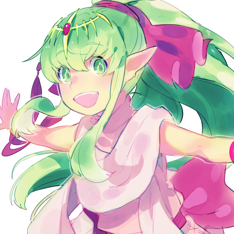 1girl aisutabetao chiki commentary_request fire_emblem fire_emblem:_monshou_no_nazo green_eyes green_hair hair_ribbon long_hair mamkute open_mouth outstretched_arms pointy_ears ponytail ribbon simple_background solo spread_arms tiara upper_body white_background