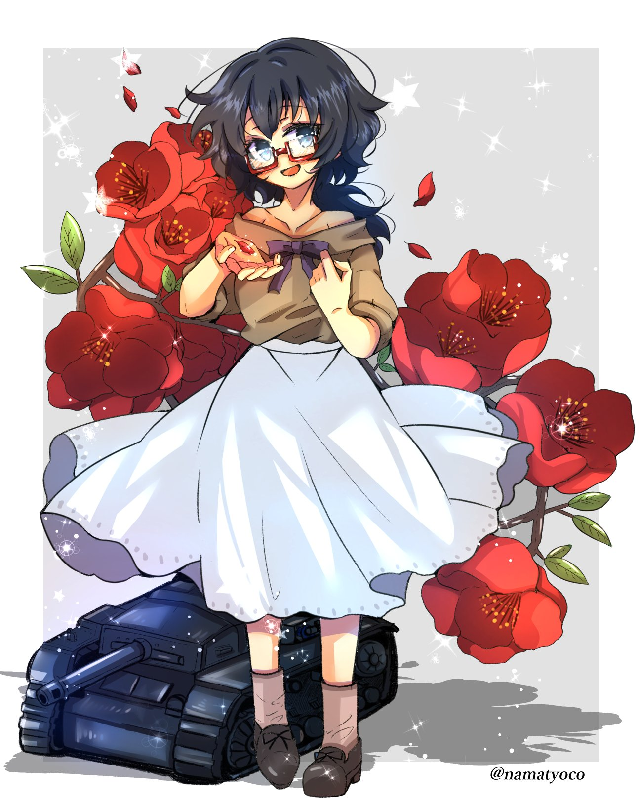 1girl bare_shoulders black_bow black_eyes black_footwear black_hair bow brown_legwear brown_shorts casual commentary floral_background flower_request full_body girls_und_panzer glasses grey_background ground_vehicle head_tilt high-waist_skirt highres holding light_blush light_particles looking_at_viewer medium_skirt messy_hair military military_vehicle miniature motor_vehicle namatyoco off-shoulder_shirt off_shoulder open_mouth oryou_(girls_und_panzer) outside_border petals red-framed_eyewear semi-rimless_eyewear shadow shirt shoes short_hair short_ponytail short_sleeves shorts skirt smile socks solo sparkle standing star sturmgeschutz_iii tank twitter_username under-rim_eyewear white_skirt