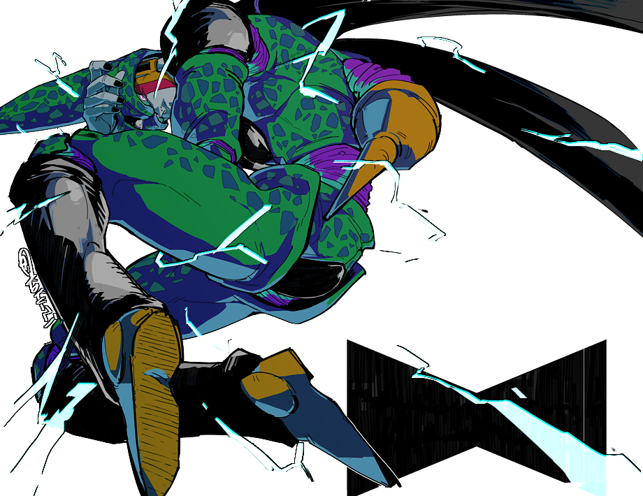 1boy black_nails cel_shading cell_(dragon_ball) dragon_ball dragon_ball_z electricity fetal_position foreshortening green_skin insect_wings knees_on_chest kokusoji lightning nail_polish perfect_cell solo stinger wings