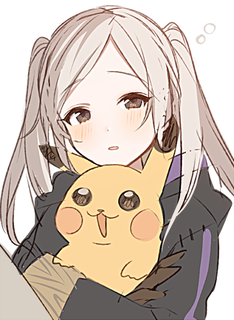 1girl blush brown_eyes commentary_request creatures_(company) female_my_unit_(fire_emblem:_kakusei) fire_emblem fire_emblem:_kakusei game_freak gen_1_pokemon holding holding_pokemon intelligent_systems long_sleeves my_unit_(fire_emblem:_kakusei) nintendo parted_lips pikachu pokemon pokemon_(creature) reflet ryon_(ryonhei) simple_background twintails white_background white_hair