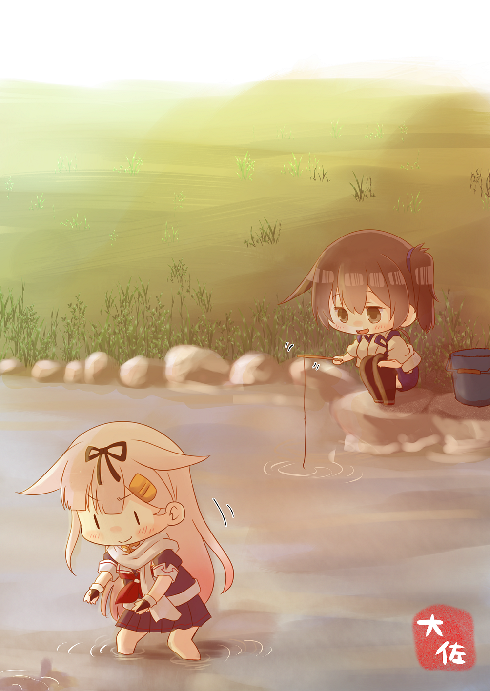 2girls black_gloves black_legwear black_ribbon black_serafuku black_skirt blonde_hair blue_hakama brown_eyes brown_hair bucket chibi fingerless_gloves fishing fishing_rod gloves grass hair_flaps hair_ornament hair_ribbon hairclip hakama hakama_skirt highres japanese_clothes kaga_(kantai_collection) kantai_collection long_hair messy_hair multiple_girls neckerchief outdoors pleated_skirt red_neckwear remodel_(kantai_collection) ribbon river scarf school_uniform serafuku side_ponytail skirt taisa_(kari) tasuki thigh-highs wading white_scarf yuudachi_(kantai_collection) |_|