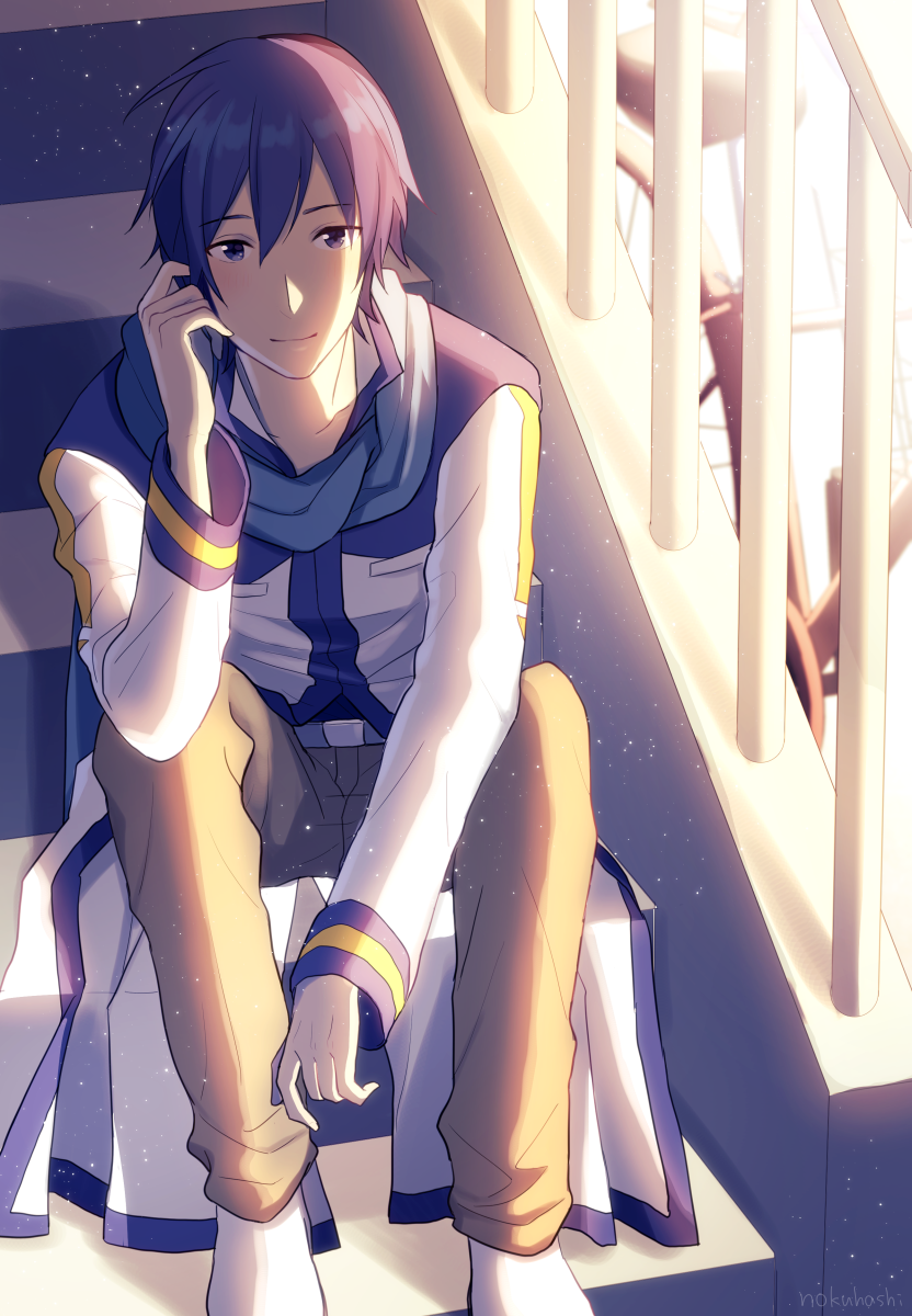 1boy belt bloom blue_eyes blue_hair blue_scarf brown_pants coat commentary feet_out_of_frame hand_on_ear handrail highres kaito long_coat looking_at_viewer male_focus nokuhashi pants scarf short_hair sitting smile solo stairs stairwell vocaloid white_coat