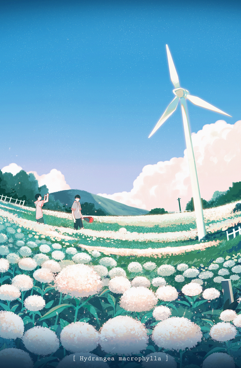 2boys black_hair clouds fence flower hanasei highres hydrangea looking_away mountain multiple_boys original scenery short_hair standing summer tree wind_turbine windmill