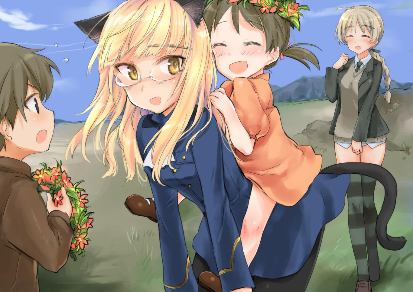 1boy 3girls animal_ears aohashi_ame black_jacket black_legwear black_neckwear black_ribbon blonde_hair blue_jacket blue_sky braid brown_eyes brown_hair brown_sweater carrying cat_ears cat_tail child clouds cloudy_sky day dress dress_shirt eyebrows_visible_through_hair glasses grass grey_legwear hair_ribbon holding_wreath jacket leaning_forward light_blush light_brown_hair long_sleeves looking_at_another looking_at_viewer lynette_bishop military military_uniform multiple_girls necktie no_pants open_clothes open_jacket open_mouth orange_dress outdoors pantyhose perrine_h_clostermann piggyback ribbon shirt short_sleeves short_twintails single_braid sky smile standing strike_witches striped striped_legwear sweater tail thigh-highs twintails uniform v-neck white_shirt world_witches_series wreath