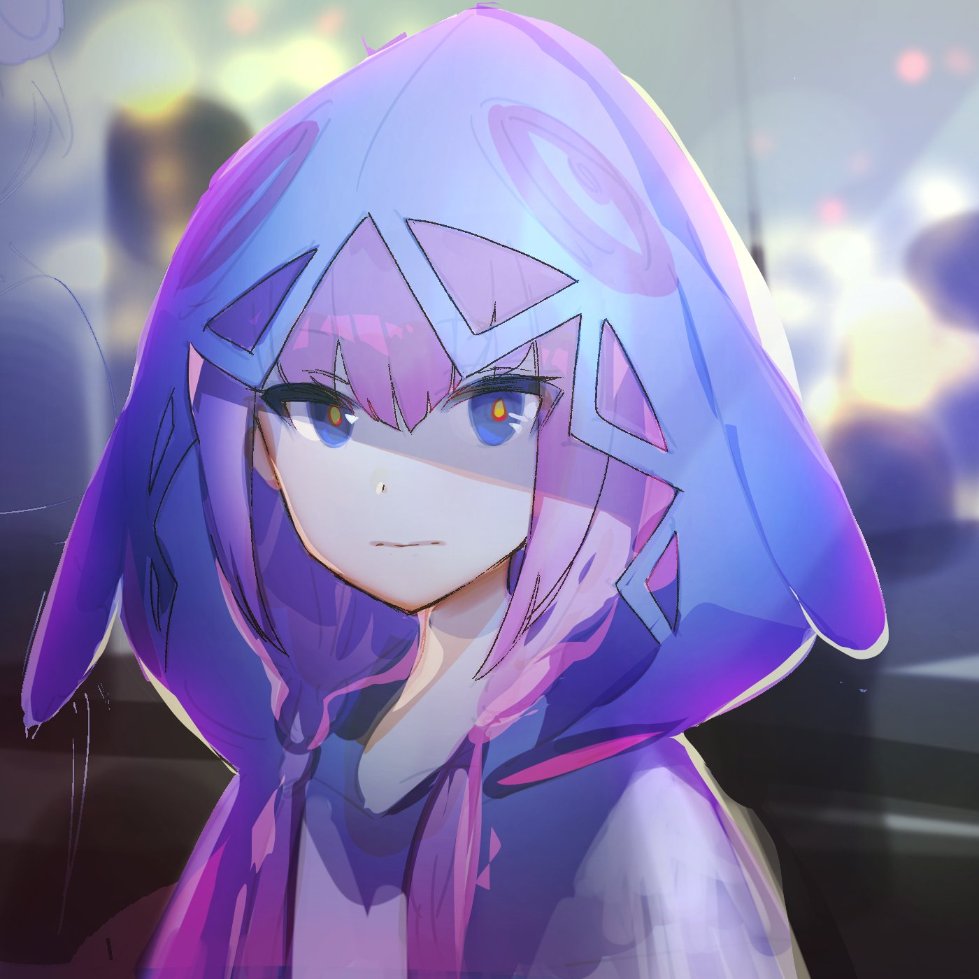 1girl blue_eyes blush city commentary highres hood hood_up hooded_jacket hoodie jacket kaf kasukabe_tsukushi_(artist) lights long_hair looking_at_viewer low_twintails multicolored multicolored_eyes outdoors pink_hair red_eyes shade sketch solo twintails upper_body virtual_kaf virtual_youtuber yellow_eyes