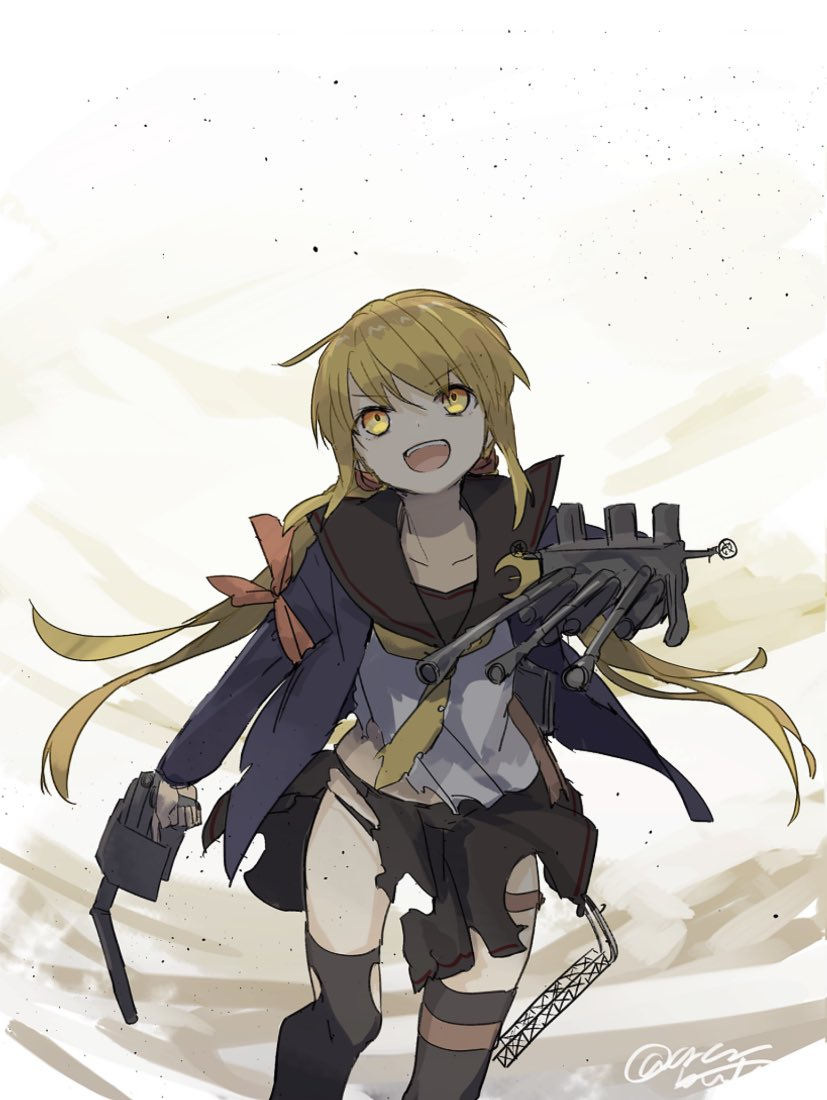 1girl adapted_turret armband black_legwear black_panties black_sailor_collar black_skirt blonde_hair blue_jacket cannon commentary_request cowboy_shot crescent crescent_moon_pin jacket kantai_collection long_hair low_twintails neckerchief open_mouth panties pleated_skirt remodel_(kantai_collection) sailor_collar satsuki_(kantai_collection) skirt smile solo thigh-highs torn_clothes turret twintails underwear upper_teeth yamashiki_(orca_buteo) yellow_eyes yellow_neckwear