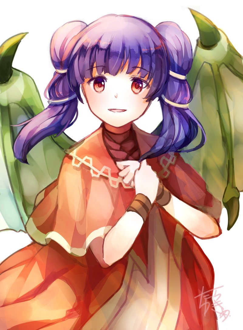 1girl dragon_wings dress fire_emblem fire_emblem:_seima_no_kouseki mamkute multi-tied_hair myrrh parted_lips purple_hair red_eyes signature simple_background solo twintails upper_body white_background wings yukimiyuki