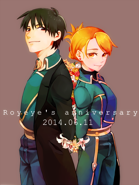 1boy 1girl 2014 amestris_military_uniform anniversary arms_behind_back back-to-back black_coat black_eyes black_hair blonde_hair coat dated earrings english_text feet_out_of_frame fley3black flower fullmetal_alchemist grey_background height_difference jewelry lily_(flower) looking_at_viewer military military_uniform orange_flower orange_rose pink_flower pink_rose red_flower red_rose riza_hawkeye rose roy_mustang simple_background smile standing text_focus tied_hair uniform white_flower white_rose yellow_eyes yellow_flower yellow_rose