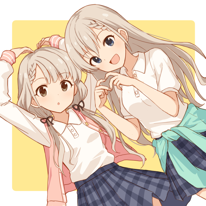 2girls :o black_ribbon blue_eyes blue_skirt braid brown_eyes character_request commentary_request dot_nose eyebrows_visible_through_hair hair_ribbon hands_above_head idolmaster idolmaster_cinderella_girls jacket long_hair long_sleeves looking_at_viewer mugi_(banban53) multiple_girls pink_jacket ribbon shirt short_sleeves short_twintails single_braid skirt smile twintails white_shirt