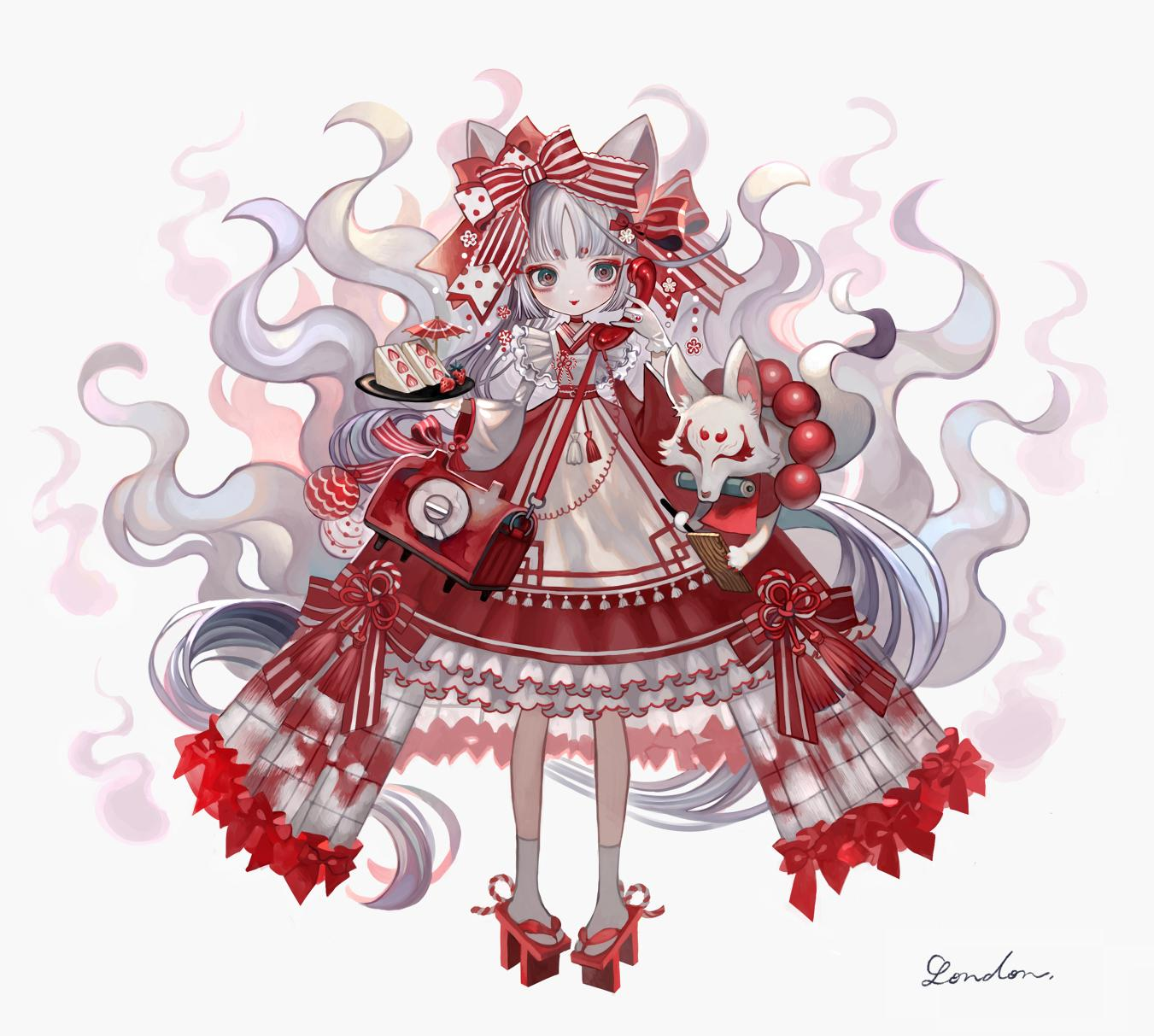 1girl animal animal_ears bag bangs blush bow brown_eyes closed_mouth commentary_request copyright_request eyebrows_visible_through_hair food fox fox_ears fruit full_body geta grey_background grey_hair hair_bow highres holding holding_phone japanese_clothes kimono kimono_skirt long_hair phone pigeon-toed polka_dot polka_dot_bow red_bow red_footwear red_kimono red_lips sandwich shiro_saki_london short_eyebrows shoulder_bag signature smile socks solo spirit standing strawberry striped striped_bow tabi tengu-geta thick_eyebrows very_long_hair white_bow white_legwear