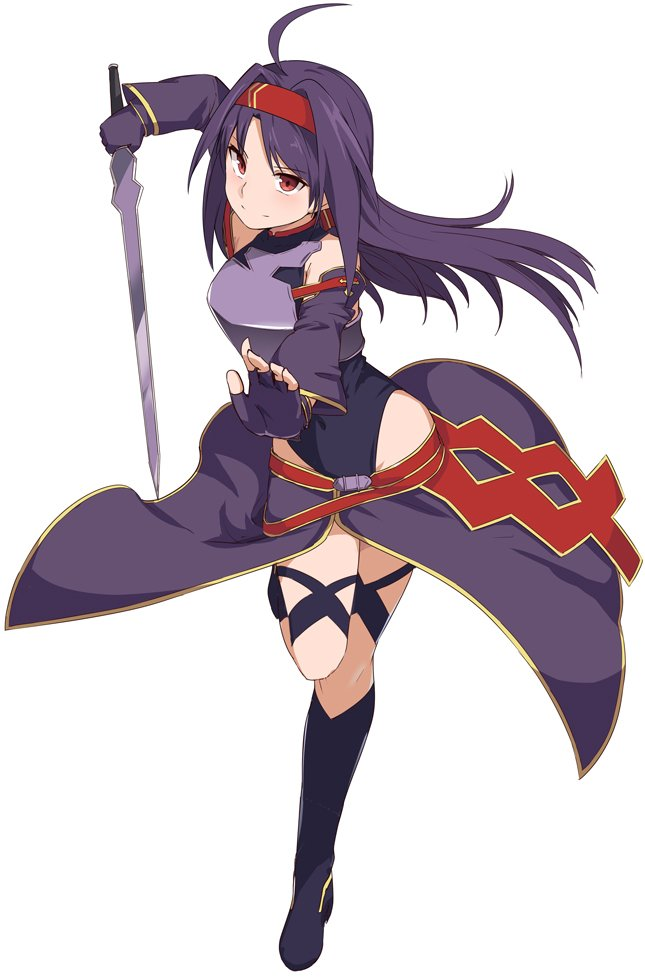 1girl ahoge bare_shoulders breastplate breasts commentary_request detached_sleeves eyebrows_visible_through_hair fingerless_gloves full_body gloves hair_ornament hairband holding holding_sword holding_weapon leg_up long_hair looking_at_viewer medium_breasts pointy_ears purple_hair red_eyes red_hairband shiseki_hirame simple_background smile solo sword sword_art_online thigh-highs very_long_hair weapon white_background yuuki_(sao)