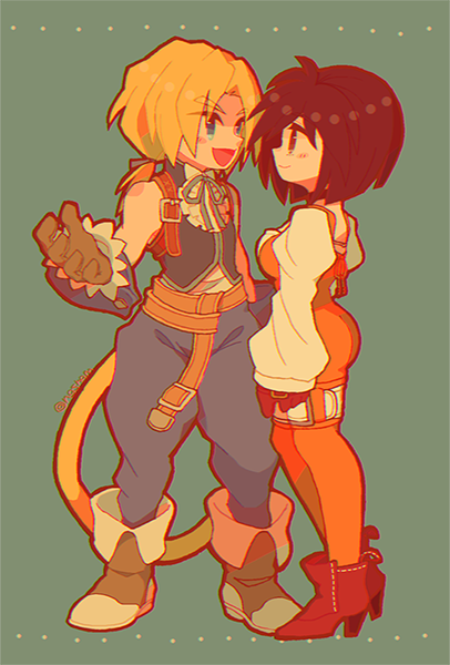 1boy 1girl ass black_hair blonde_hair blue_eyes blush bodysuit breasts brown_eyes choker closed_mouth commentary_request final_fantasy final_fantasy_ix garnet_til_alexandros_xvii gloves high_heels orange_bodysuit short_hair smile sunagimo_(nagimo) tail zidane_tribal