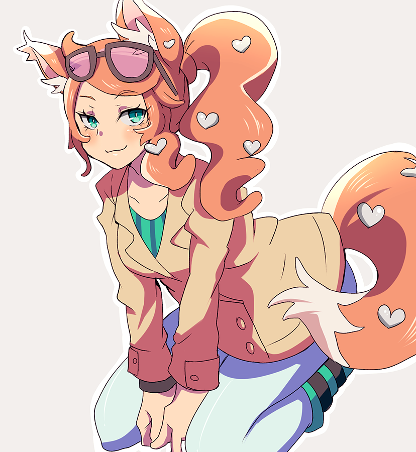1girl animal_ears aqua_eyes bag between_breasts blush breasts cat_ears cat_girl cat_tail coat eyewear_on_head gurepyon hair_ornament handbag heart heart_hair_ornament long_hair long_sleeves looking_at_viewer orange_hair pants pokemon pokemon_(game) pokemon_swsh side_ponytail simple_background smile solo sonia_(pokemon) strap_between_breasts sunglasses tail trench_coat