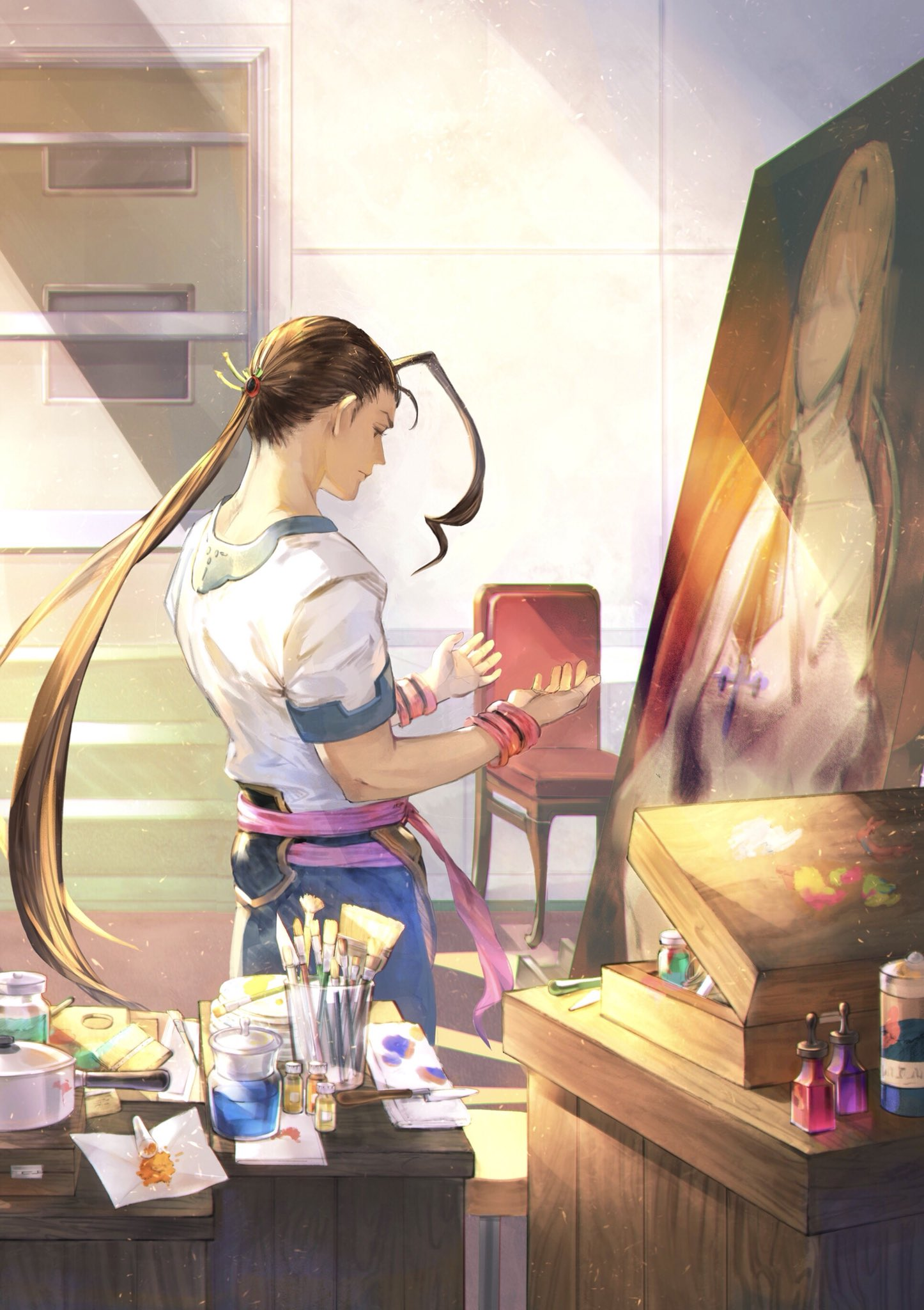 1boy bomssp bottle canvas_(object) elhaym_van_houten fei_fong_wong highres jar long_hair looking_at_hands male_focus paintbrush painting_(object) palette single_hair_intake solo_focus wristband xenogears