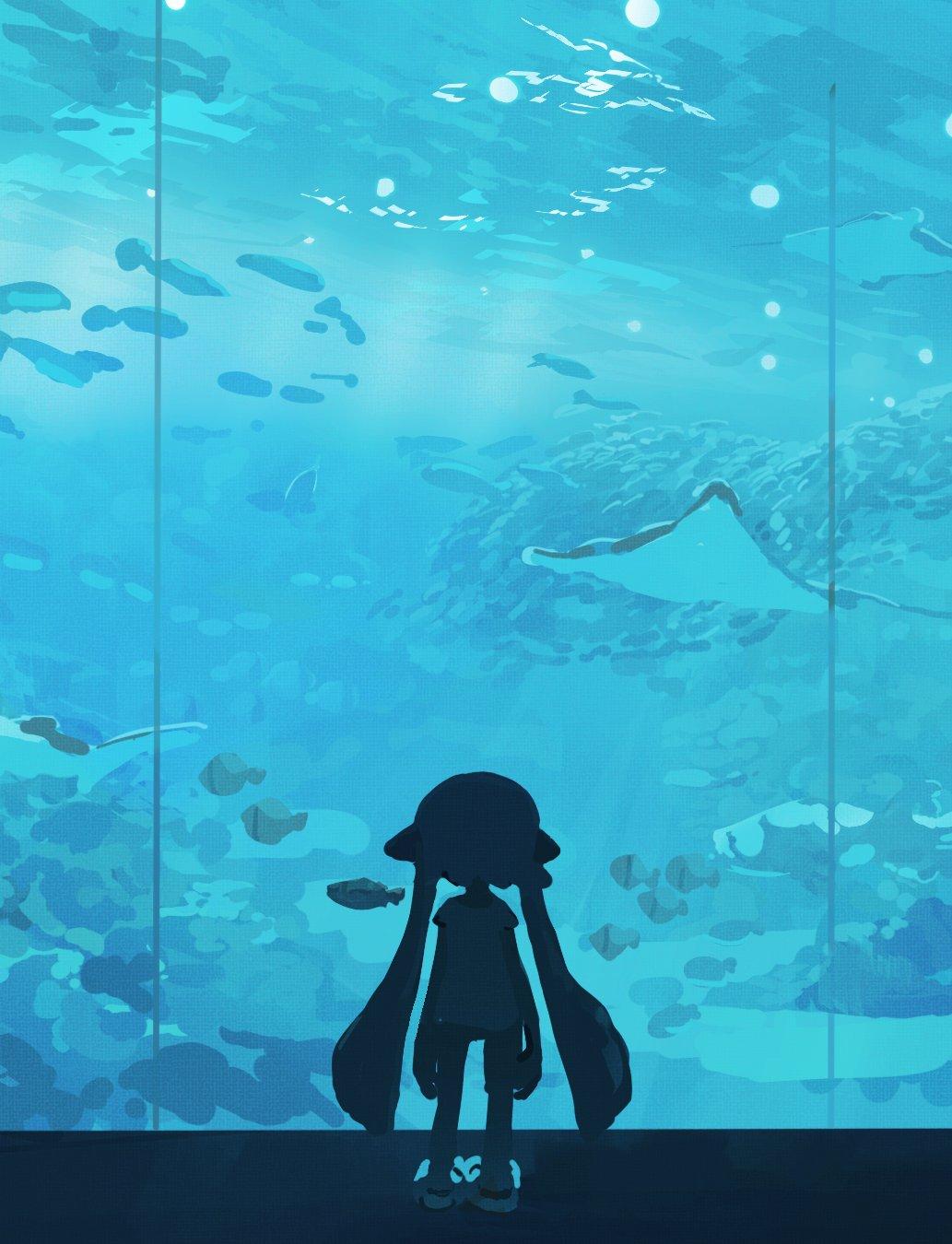 1girl aqua_theme aquarium aspara blurry bokeh depth_of_field fish from_behind highres indoors inkling long_hair manta_ray pointy_ears shirt shoes shorts solo splatoon_(series) splatoon_1 standing tentacle_hair very_long_hair water