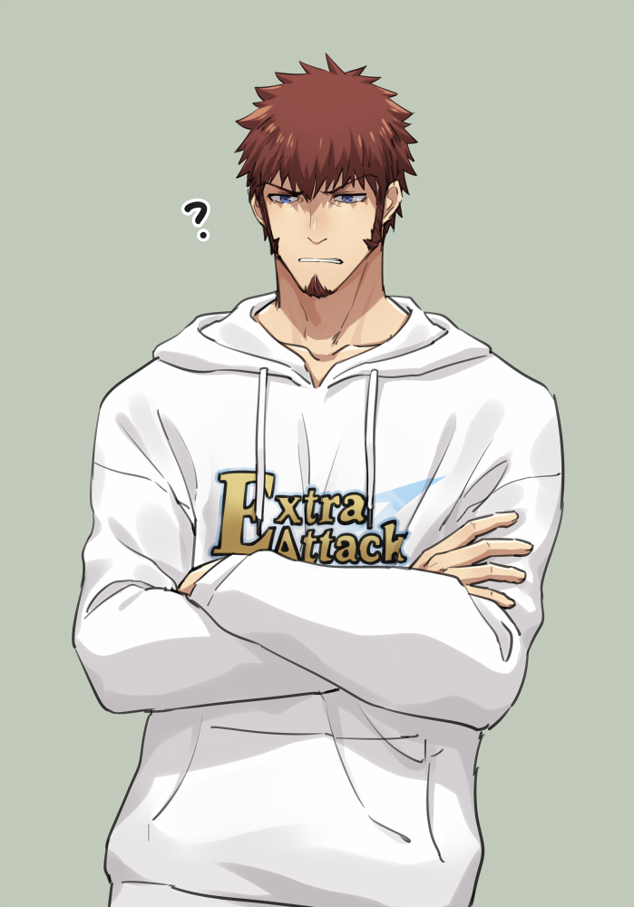 1boy 47_(479992103) annoyed bangs beard blue_eyes brown_hair closed_mouth crossed_bangs eyebrows_visible_through_hair facial_hair fate/grand_order fate_(series) hood hoodie long_sleeves male_focus napoleon_bonaparte_(fate/grand_order) simple_background solo standing teeth
