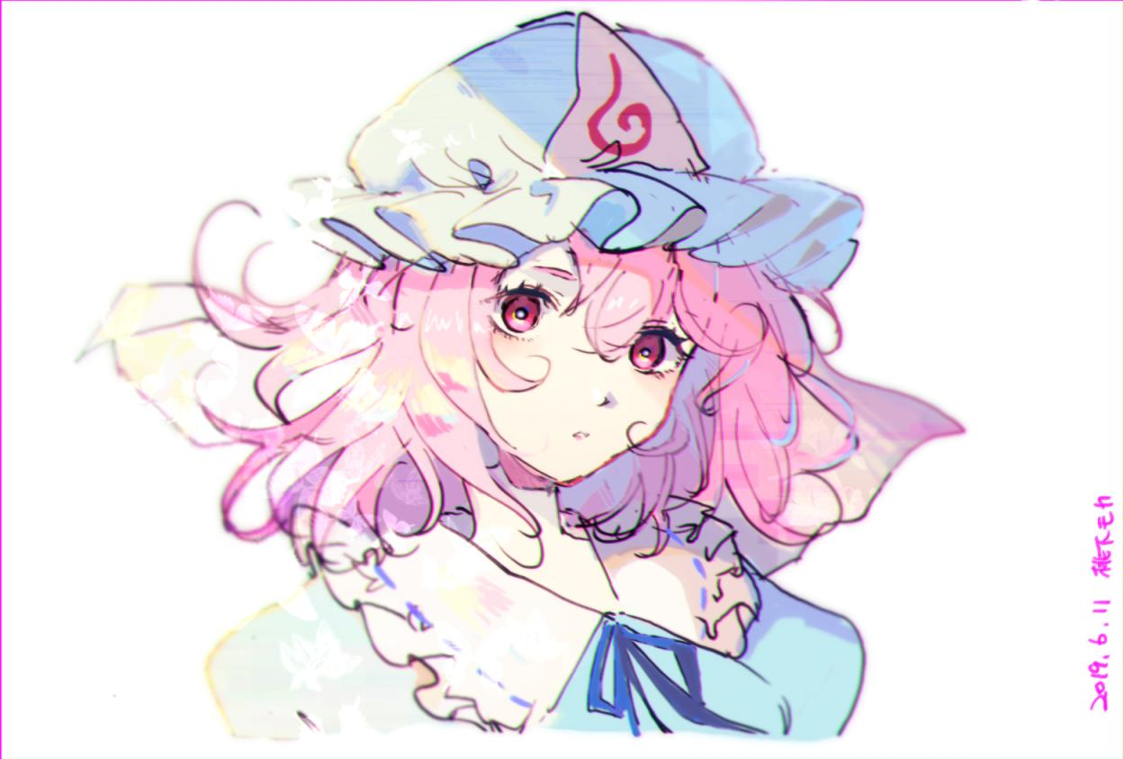 1girl bangs blue_dress blue_headwear blue_neckwear blue_ribbon breasts commentary_request dated dress frilled_shirt_collar frills hair_between_eyes hat head_tilt looking_at_viewer medium_breasts mob_cap mochacot neck_ribbon pink_eyes pink_hair puffy_sleeves ribbon ribbon-trimmed_collar ribbon_trim saigyouji_yuyuko short_hair simple_background solo symbol_commentary touhou triangular_headpiece upper_body veil white_background