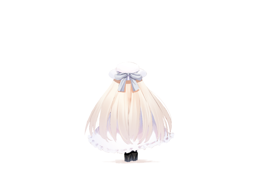 .live 1girl black_footwear blue_bow bow dress facing_away frilled_dress frills grey_hair hat hat_bow high_heels kei_(soundcross) long_hair merry_milk merry_milk_no_mori shoes solo standing very_long_hair virtual_youtuber white_background white_dress white_headwear