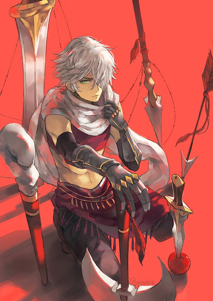1boy anocurry bracelet cloak gloves hair_over_one_eye jewelry long_hair looking_at_viewer male_focus navel necklace octopath_traveler open_mouth scarf short_hair simple_background smile solo therion_(octopath_traveler) weapon white_hair