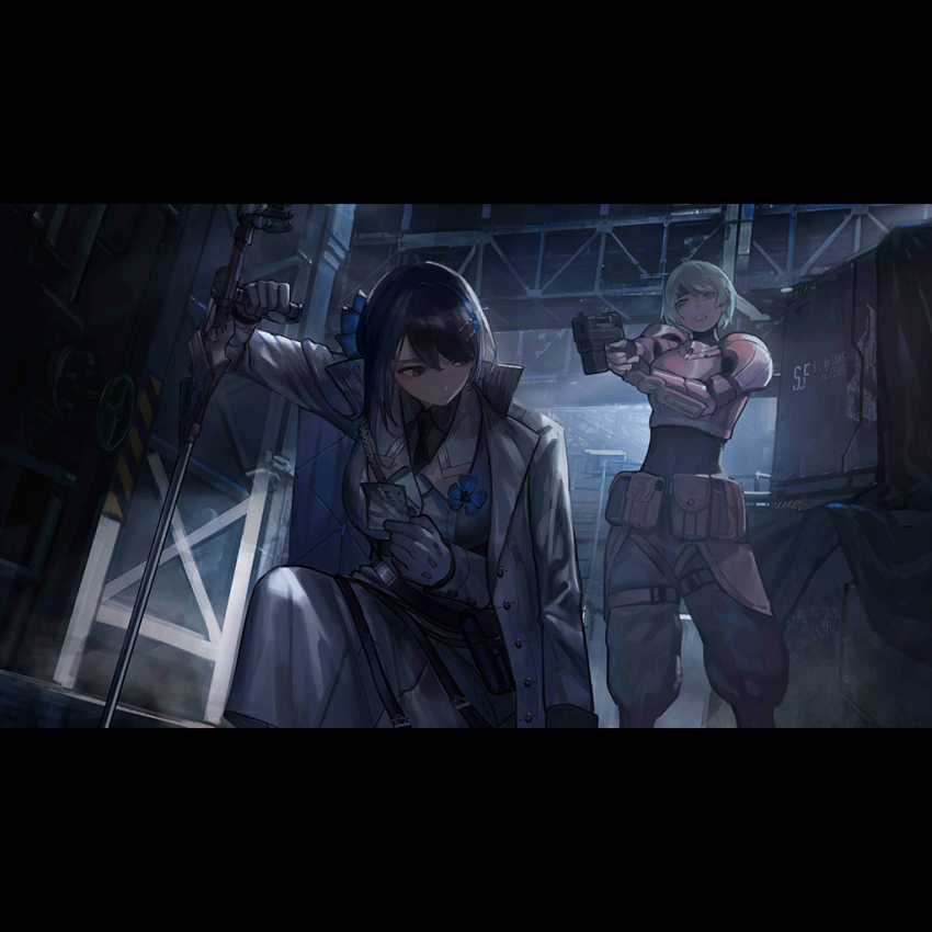 2girls aiming armor cane crossover cyberpunk fanny_pack girls_frontline gun handgun headband jericho_(girls_frontline) military military_jacket military_uniform multiple_girls official_art photo_(object) pouch sei_asagiri spoilers uniform va-11_hall-a warehouse weapon