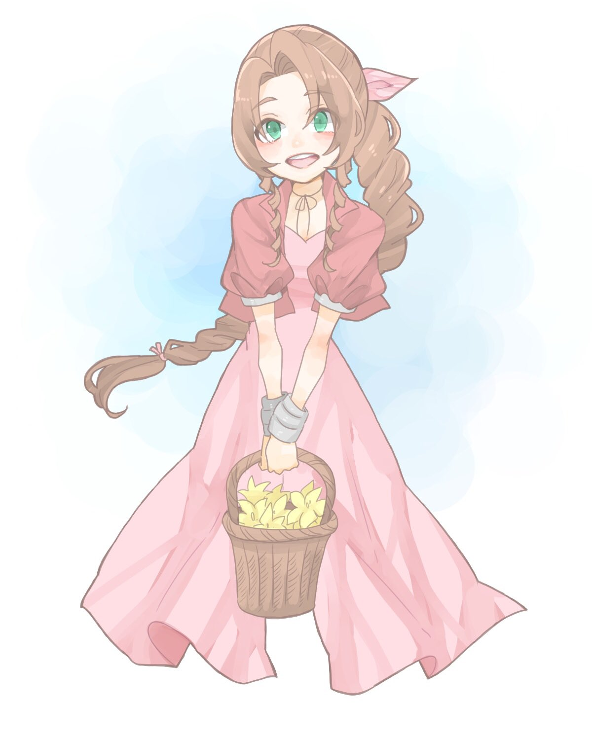 1girl :d aerith_gainsborough aqua_eyes basket brown_hair cropped_jacket dress eyebrows_visible_through_hair eyes_visible_through_hair final_fantasy final_fantasy_vii flower hair_intakes hair_ribbon highres holding holding_basket jacket long_hair looking_at_viewer open_clothes open_jacket open_mouth pink_dress pink_ribbon puffy_short_sleeves puffy_sleeves red_jacket ribbon short_sleeves smile solo teeth toufu_(toufu_53) v_arms yellow_flower