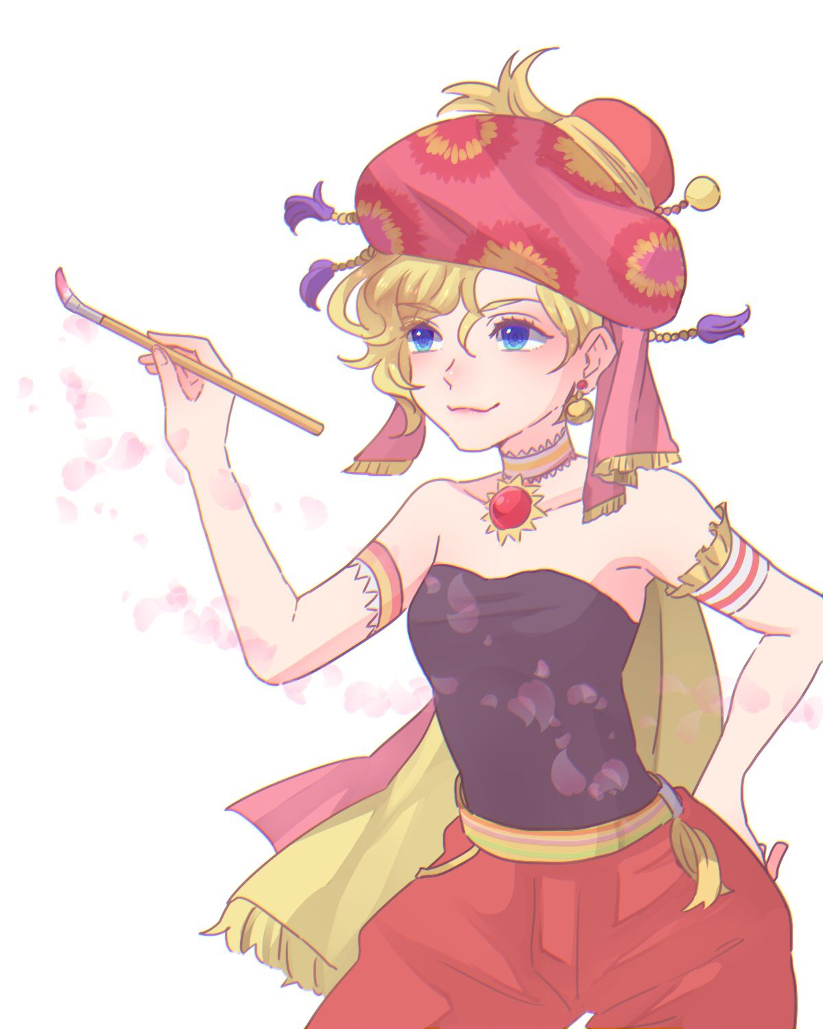 1girl armband bare_shoulders black_shirt blonde_hair blue_eyes breasts choker closed_mouth earrings eyebrows_visible_through_hair final_fantasy final_fantasy_vi hair_between_eyes hand_on_hip hat highres holding holding_paintbrush jewelry paintbrush pants petals red_headwear red_pants relm_arrowny shirt short_hair small_breasts smile solo strapless strapless_shirt toufu_(toufu_53) white_background