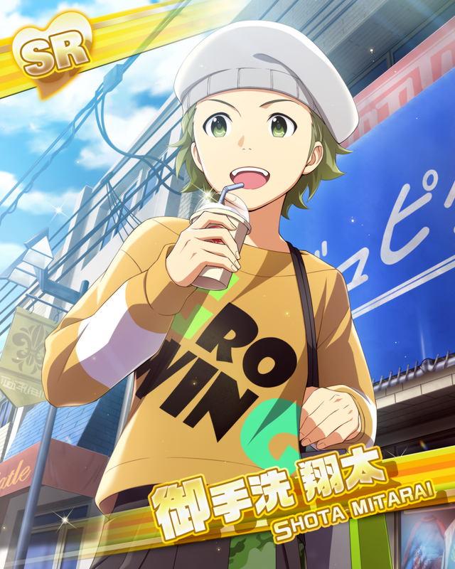 blue_eyes cap character_name dress green_hair idolmaster idolmaster_side-m mitarai_shouta short_hair smile