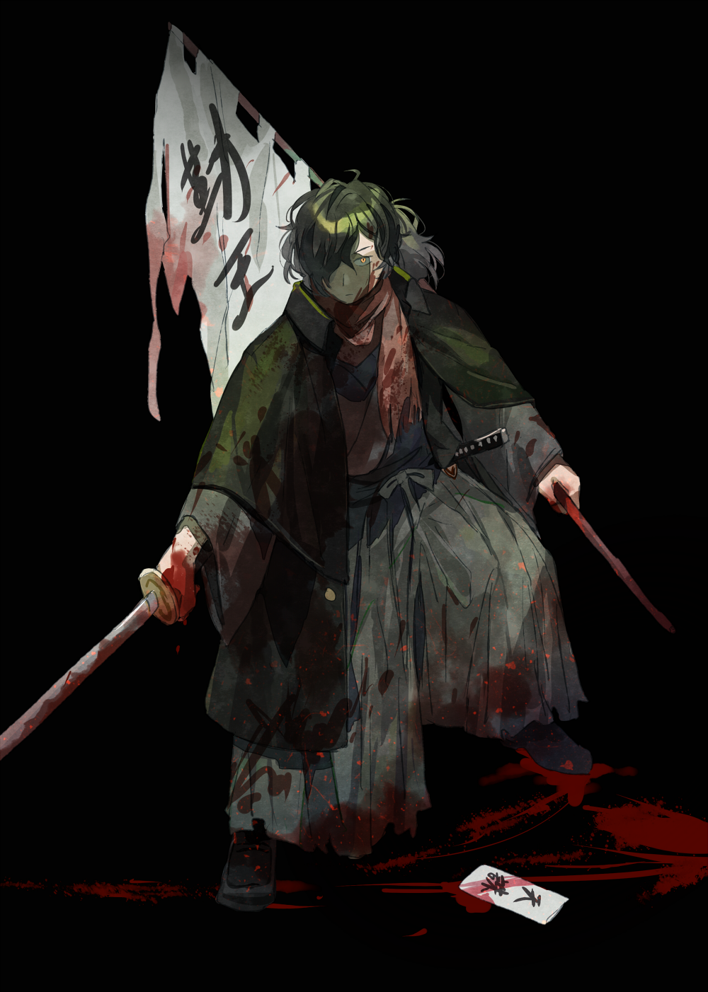 1boy banner black_background blood bloody_clothes bloody_hands bloody_weapon closed_mouth fate_(series) getiao green_hair hair_over_one_eye highres holding holding_sword holding_weapon katana male_focus okada_izou_(fate) red_scarf scarf simple_background slit_pupils smeared_blood solo sword torn_clothes weapon yellow_eyes