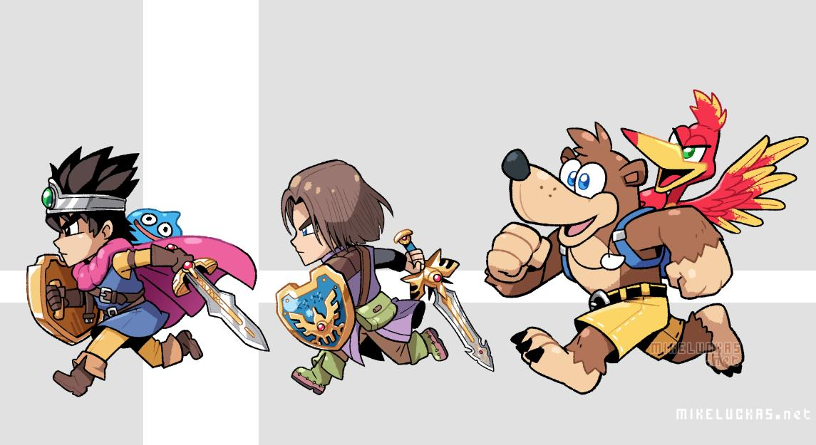 2boys 2others animal backpack bag banjo-kazooie banjo_(banjo-kazooie) bear bird black_hair blue_eyes boots brown_eyes brown_hair cape chibi crossover deviantart dragon_quest dragon_quest_iii dragon_quest_xi earrings elbow_gloves feathers gloves green_eyes helmet hero_(dq11) human jewelry kazooie_(banjo-kazooie) long_hair male_focus microsoft mike_luckas multiple_boys nintendo open_mouth rareware roto shield short_hair shorts slime slime_(dragon_quest) smile sora_(company) square_enix super_smash_bros. super_smash_bros._ultimate sword toei_animation weapon wings