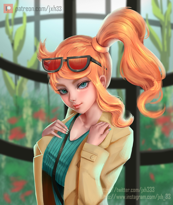 1girl aqua_eyes bag blush breasts coat eyewear_on_head hair_ornament handbag jinxel_world long_hair long_sleeves looking_at_viewer nail_polish orange_hair pokemon pokemon_(game) pokemon_swsh side_ponytail smile solo sonia_(pokemon) sunglasses trench_coat