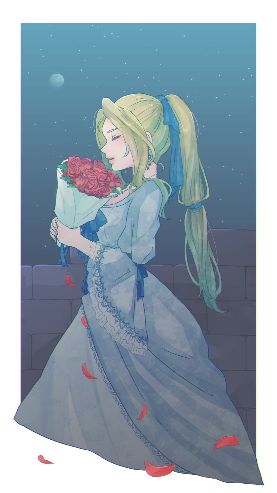 1girl blonde_hair blue_dress blue_ribbon bouquet celes_chere closed_eyes closed_mouth dress earrings eyebrows_visible_through_hair final_fantasy final_fantasy_vi flower from_side full_moon hair_ribbon highres holding holding_bouquet jewelry leaf long_hair moon necklace petals ponytail red_flower red_rose ribbon rose solo toufu_(toufu_53) wide_sleeves