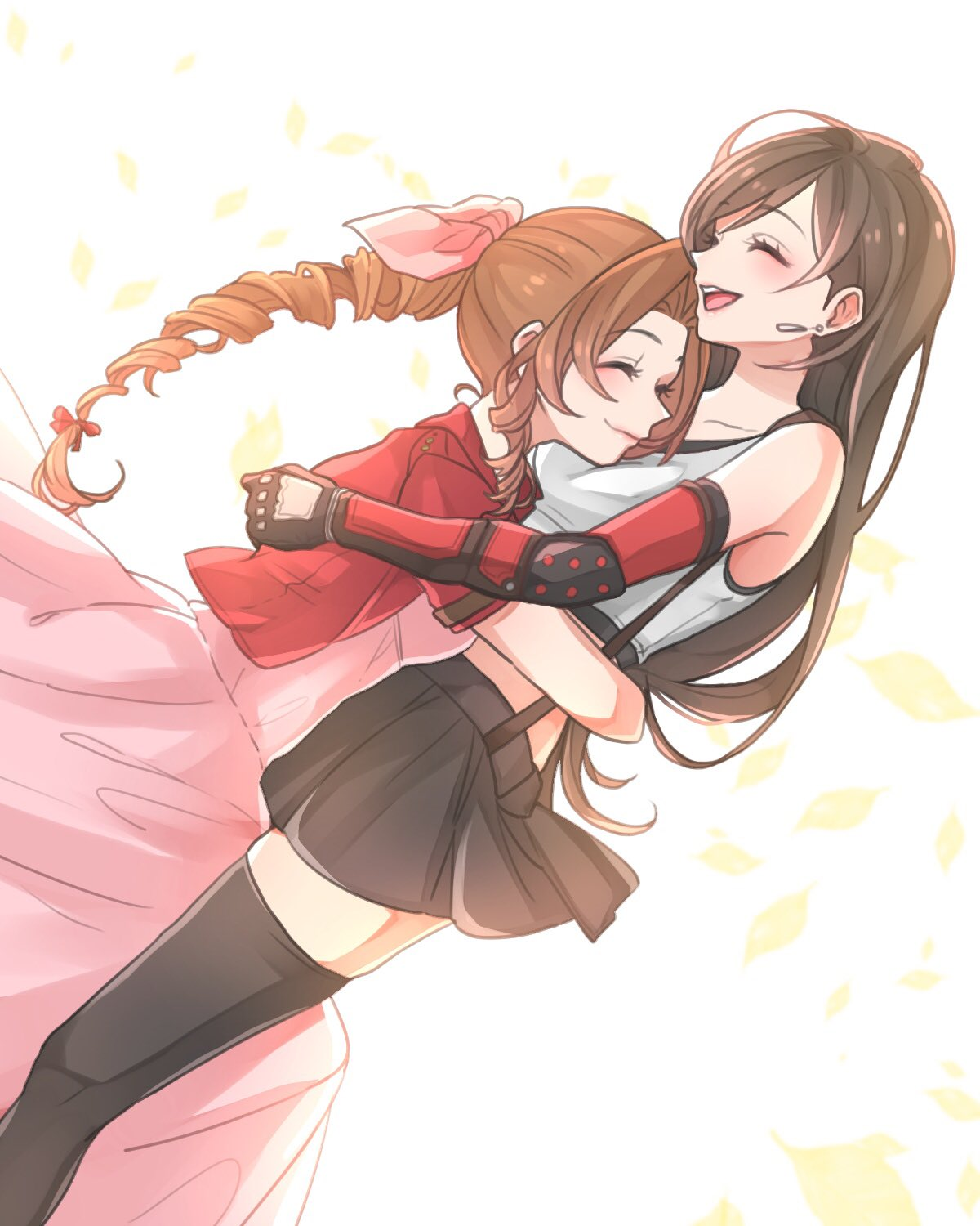 2girls :d aerith_gainsborough bare_shoulders black_hair black_legwear black_skirt brown_hair crop_top cropped_jacket dress earrings final_fantasy final_fantasy_vii final_fantasy_vii_remake hair_ribbon highres hug jacket jewelry long_hair miniskirt multiple_girls open_clothes open_jacket open_mouth pink_dress pink_ribbon pleated_skirt red_jacket ribbon shirt short_sleeves skirt smile suspender_skirt suspenders tank_top teeth thigh-highs tifa_lockhart toufu_(toufu_53) white_shirt zettai_ryouiki