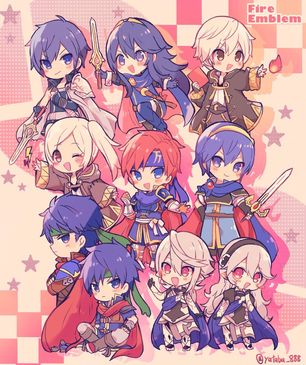 3girls 6+boys artist_request blue_armor blue_eyes blue_hair brother_and_sister cape chibi dragon_boy dragon_girl dual_persona elf falchion_(fire_emblem) father_and_daughter female_my_unit_(fire_emblem:_kakusei) fire fire_emblem fire_emblem:_akatsuki_no_megami fire_emblem:_fuuin_no_tsurugi fire_emblem:_kakusei fire_emblem:_monshou_no_nazo fire_emblem:_souen_no_kiseki fire_emblem_heroes fire_emblem_if gloves great_grandfather_and_great_granddaughter hair_ornament headband highres human ike intelligent_systems kamui_(fire_emblem) krom long_hair looking_at_viewer lucina male_my_unit_(fire_emblem:_kakusei) male_my_unit_(fire_emblem_if) mamkute marth multiple_boys my_unit_(fire_emblem:_kakusei) my_unit_(fire_emblem_if) nintendo one_eye_closed pointy_ears project_m red_eyes reflet robe roy_(fire_emblem) siblings sora_(company) star super_smash_bros. super_smash_bros._ultimate super_smash_bros_brawl super_smash_bros_for_wii_u_and_3ds super_smash_bros_legacy_xp super_smash_bros_melee sword tiara twintails weapon white_hair