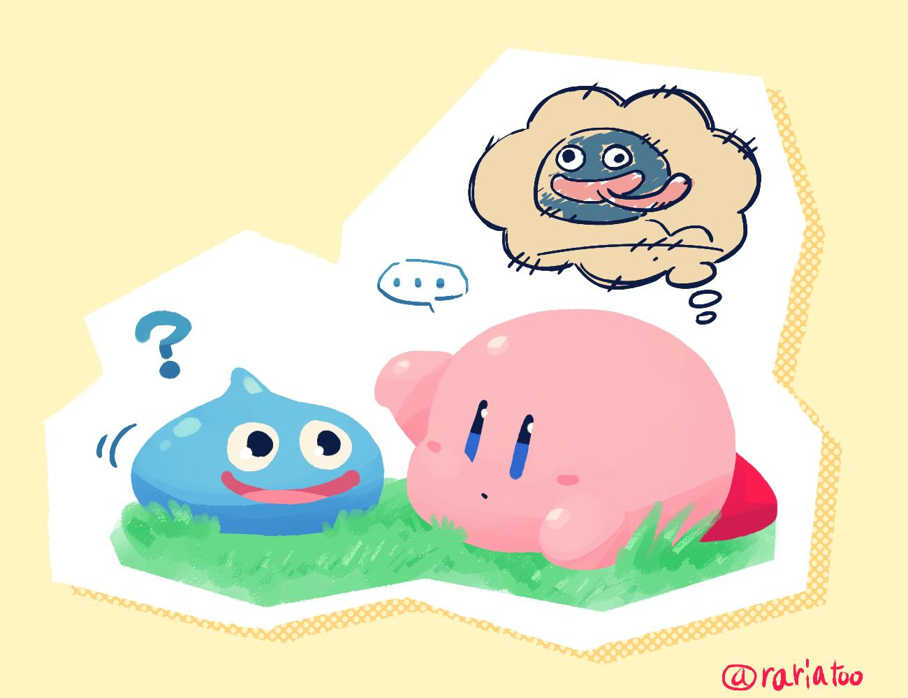 2others ? blob blue_eyes blue_skin blush chibi confused dark_matter_(specie) dragon_quest gooey hal_laboratory_inc. hoshi_no_kirby hoshi_no_kirby_3 kirby kirby's_dream_land_3 kirby_(series) monster nintendo open_mouth pink_puff_ball rariatto_(ganguri) slime slime_(dragon_quest) smile sora_(company) square_enix super_smash_bros. super_smash_bros._ultimate tongue tongue_out