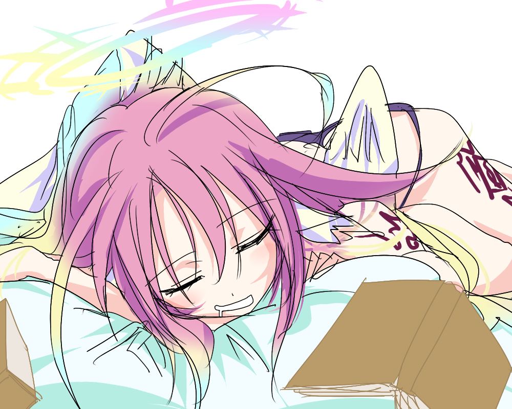 1girl angel_wings artist_request book closed_eyes commentary_request drooling feathered_wings gradient_hair halo jibril_(no_game_no_life) long_hair low_wings lying magic_circle multicolored_hair no_game_no_life on_stomach pink_hair sketch sleeping solo tattoo very_long_hair white_wings wing_ears wings