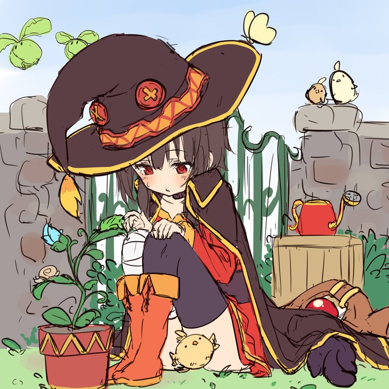 1girl bandaged_leg bandages bird blush boots brown_hair bug butterfly cabbage cape cat chick chomusuke collar commentary convenient_censoring dress emperor_zel fence hat insect knees_up kono_subarashii_sekai_ni_shukufuku_wo! megumin mismatched_legwear outdoors pensuke plant potted_plant red_dress red_eyes short_hair single_thighhigh sitting snail staff thigh-highs watering_can witch_hat