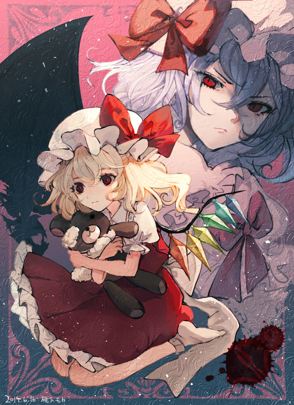 >:( 2girls bangs bat_wings blonde_hair blue_hair bow commentary_request crystal dated dress eyebrows_visible_through_hair flandre_scarlet hair_between_eyes hat hat_bow highres holding holding_stuffed_animal long_hair looking_at_viewer mob_cap mochacot multiple_girls no_shoes one_side_up petticoat pink_background puffy_short_sleeves puffy_sleeves red_bow red_eyes red_skirt red_vest remilia_scarlet short_hair short_sleeves siblings sisters sitting skirt skirt_set socks stuffed_animal stuffed_toy teddy_bear touhou v-shaped_eyebrows vest wariza white_dress white_headwear white_legwear wings