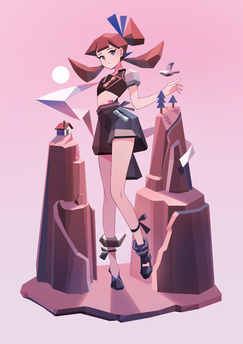 1girl appi bangs bird black_footwear blunt_bangs full_body giantess highres house looking_at_viewer midriff mountain original pink_background pink_theme shadow short_sleeves simple_background solo standing sun tree twintails