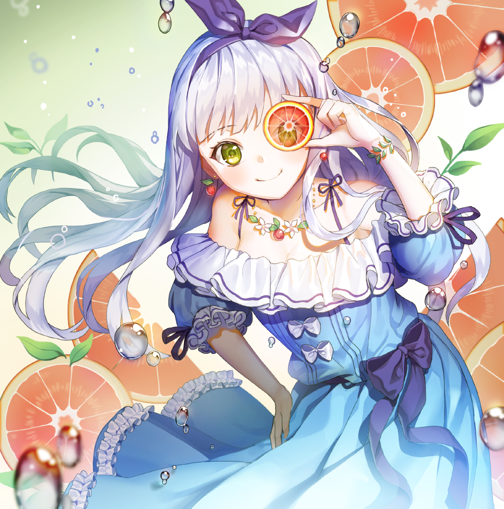 1girl bangs blue_dress bracelet contrapposto covering_one_eye cowboy_shot dress earrings food frilled_dress frills fruit grapefruit green_eyes hair_ribbon hand_on_hip holding holding_food holding_fruit jewelry lavender_hair leaf leaning leaning_to_the_side long_hair looking_at_viewer necklace off-shoulder_dress off_shoulder one_eye_covered original purple_ribbon renyuel ribbon short_sleeves silver_hair smile solo spaghetti_strap standing water_drop