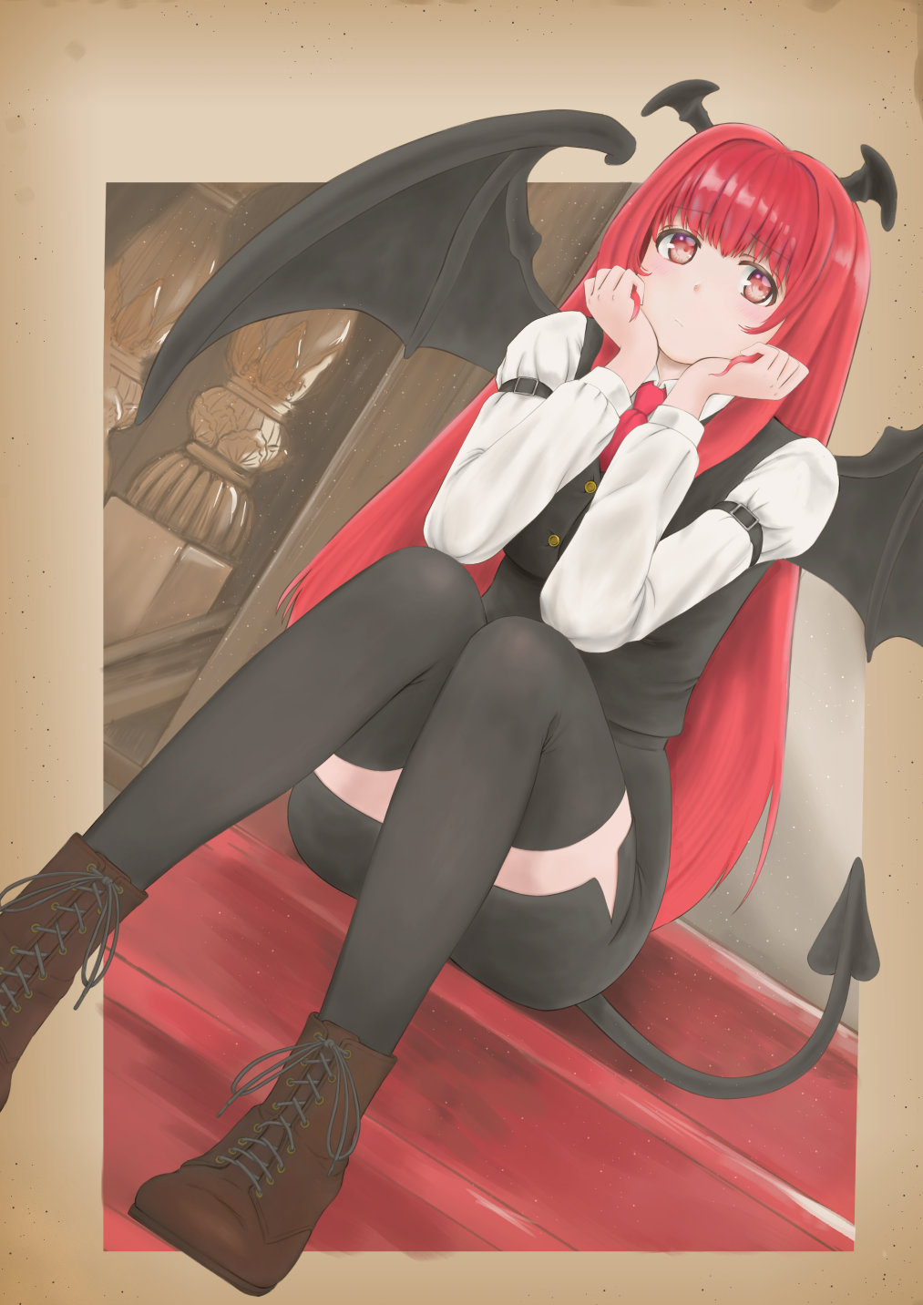 1girl armband black_legwear black_skirt black_vest boots border bosutonii brown_border brown_footwear commentary_request cross-laced_footwear demon_tail demon_wings dutch_angle elbows_on_knees expressionless eyebrows_visible_through_hair head_in_hand head_wings highres koakuma light_particles long_hair long_sleeves looking_at_viewer pencil_skirt red_eyes redhead shirt sitting skirt solo stairs tail thigh-highs touhou very_long_hair vest waistcoat white_shirt wings