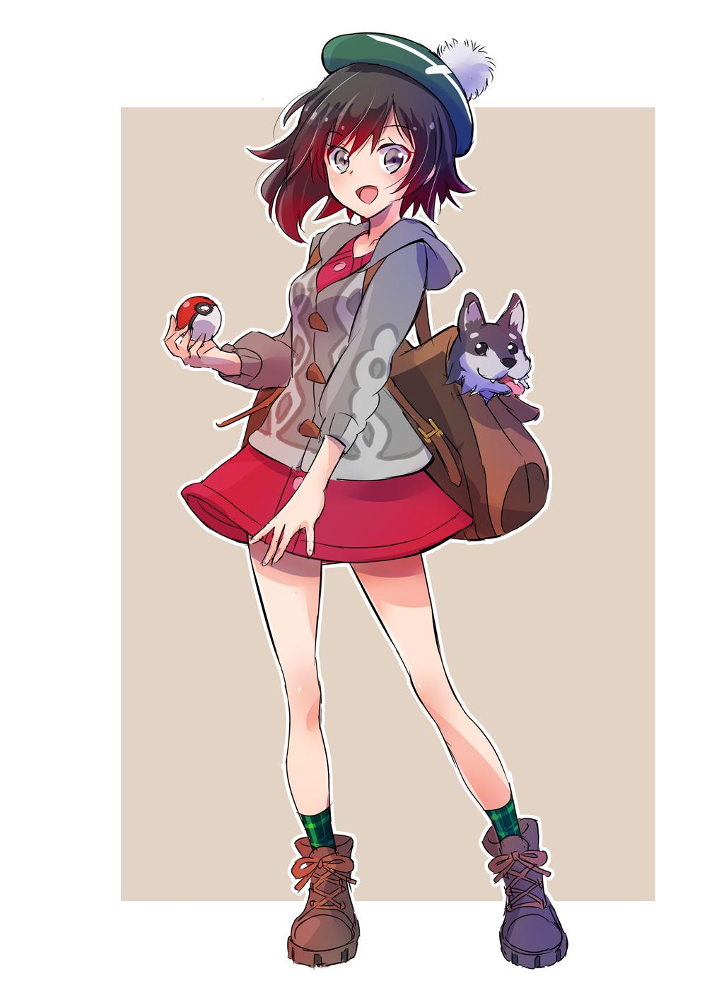1girl backpack bag black_hair boots brown_footwear cardigan commentary_request creatures_(company) female_protagonist_(pokemon_swsh) female_protagonsit_(pokemon_swsh)_(cosplay) game_freak gradient_hair green_headwear grey_eyes hat highres iesupa long_sleeves mikumikudance multicolored_hair nintendo poke_ball pokemon pokemon_(game) pokemon_swsh red_skirt redhead ruby_rose rwby short_hair skirt socks solo tam_o'_shanter two-tone_hair zwei_(rwby)