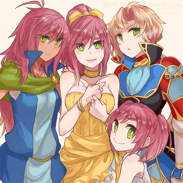 1girl blush breasts closed_mouth commentary_request dress faris_scherwiz final_fantasy final_fantasy_v green_eyes headband long_hair looking_at_viewer multiple_persona open_mouth ponytail purple_hair reverse_trap simple_background smile solo sunagimo_(nagimo) younger