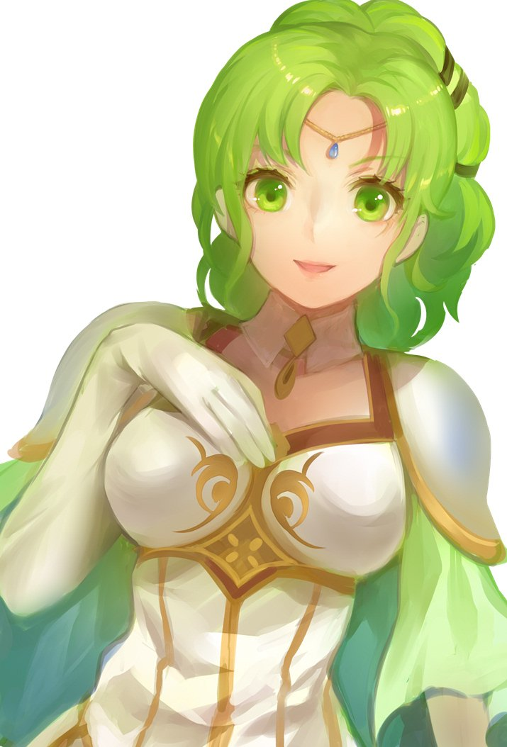 1girl cape commentary_request elbow_gloves fire_emblem fire_emblem:_seima_no_kouseki gloves green_eyes green_hair jurge l'arachel parted_lips shoulder_armor simple_background solo upper_body white_background white_gloves