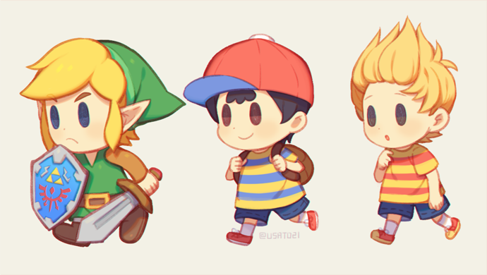 3boys ape_(company) black_hair blonde_hair blue_eyes brown_hair chibi child elf gloves hal_laboratory_inc. hat human hylian kid link lucas male_focus mother_(game) mother_2 mother_3 multiple_boys ness nintendo nintendo_ead open_mouth pointy_ears shirt short_hair simple_background smile sora_(company) striped striped_shirt super_smash_bros. the_legend_of_zelda the_legend_of_zelda:_link's_awakening wasabi60 weapon