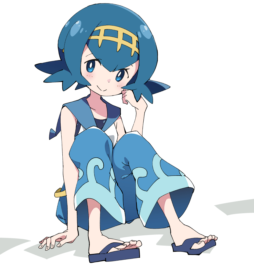 1girl blue_eyes blue_hair blue_pants closed_mouth full_body hairband ixy pants pokemon pokemon_(game) pokemon_sm sandals short_hair simple_background sitting sleeveless smile solo suiren_(pokemon) swimsuit swimsuit_under_clothes trial_captain white_background