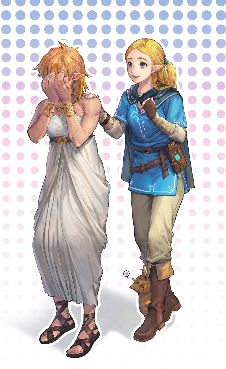 1boy 1girl :d alternate_hairstyle bandaged_arm bandages bare_arms beige_pants belt black_cape blonde_hair blue_tunic blush boots bracelet breasts brown_belt brown_footwear brown_gloves cape closed_eyes commentary_request cosplay costume_switch cross-laced_footwear dress earrings ed_(chibied) fingerless_gloves forehead full_body gloves green_eyes half_updo halftone halftone_background hand_on_another's_shoulder hands_on_own_face hands_up heart highres hood hooded_cape jewelry korean_commentary korok link link_(cosplay) long_sleeves looking_at_another necklace open_mouth outline pants pointy_ears princess_zelda princess_zelda_(cosplay) sandals shadow sheikah_slate short_sleeves side_slit small_breasts smile spoken_heart standing strapless strapless_dress the_legend_of_zelda the_legend_of_zelda:_breath_of_the_wild tunic white_background white_dress white_outline