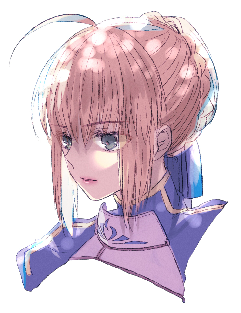 1girl ahoge artoria_pendragon_(all) bangs blonde_hair blue_ribbon braided_bun cropped_torso eyebrows_visible_through_hair fate/stay_night fate_(series) grey_eyes hair_between_eyes hair_ribbon highres parted_lips portrait ribbon ro96cu saber short_hair sidelocks simple_background solo white_background