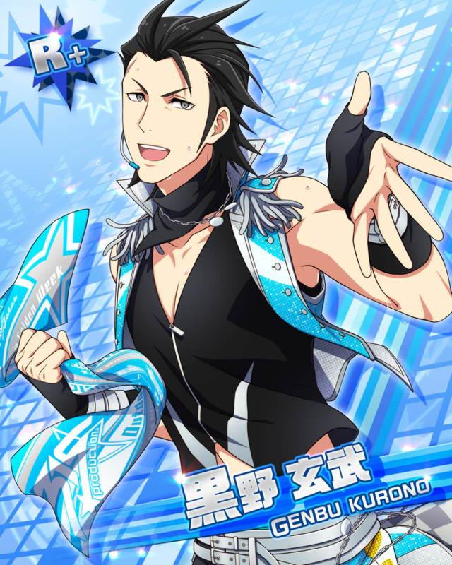 black_hair blue_eyes character_name dress idolmaster idolmaster_side-m kurono_genbu scarf short_hair smile
